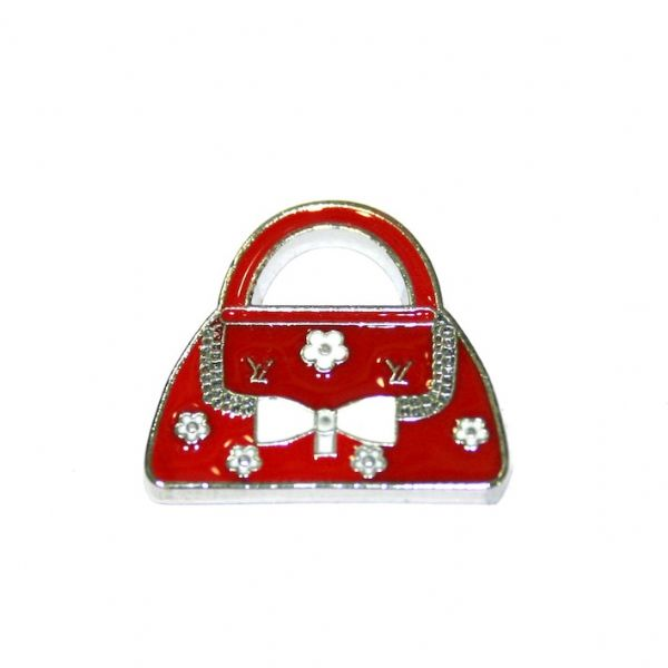 1pce x 20*18mm Rhodium plated dark red handbag  with white bow  enamel charm - SD03 - CHE1098